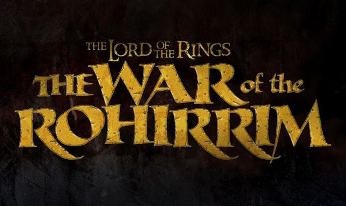 Imagem de capa: fundo metálico com cor de ferrugem e metálico, o título em cor amarela com uma fonte antiga e cheia de curvas, desgastada que diz: The Lord of the Rings: The War of Rohirrim.