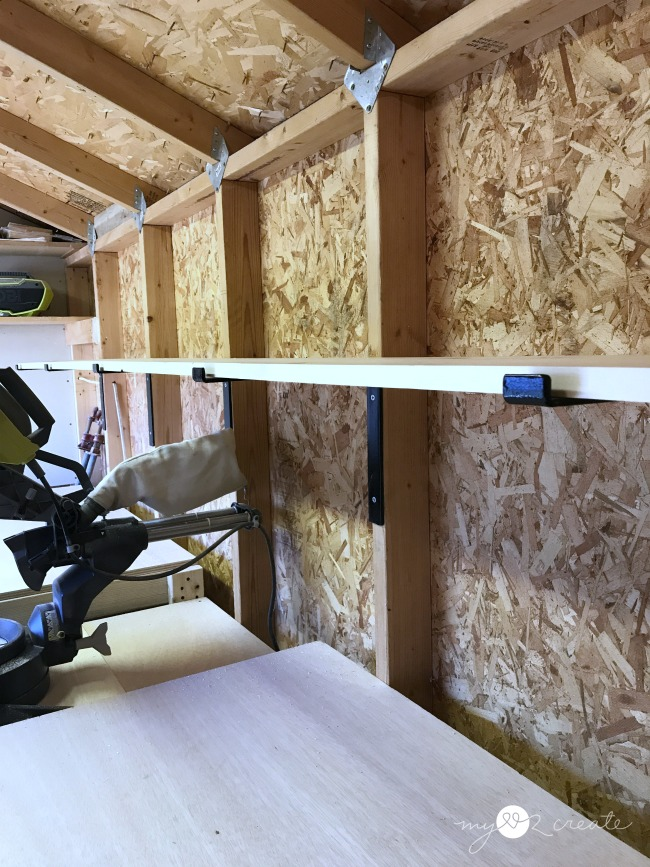 storage shelves using crates and pallet shelf brackets