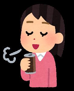 いろいろなコーヒーで一服している人のイラスト(女性・缶コーヒー)
