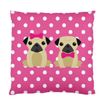 Polka Dot Pug pink cushion cover.