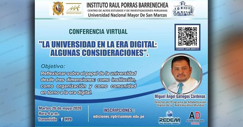UNMSM: Conferencia virtual gratuita sobre la universidad en la era digital