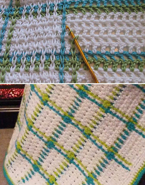 Woven Baby Blanket on Mesh Ground - Free Pattern