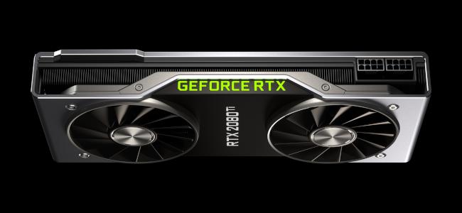 صورة علوية لبطاقة رسومات RTX 2080 Ti على خلفية سوداء.