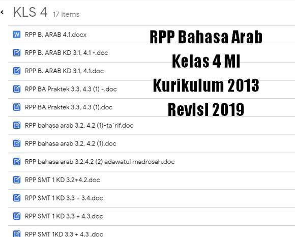 RPP Bahasa Arab Kelas 4 MI Kurikulum 2013 Revisi 2019