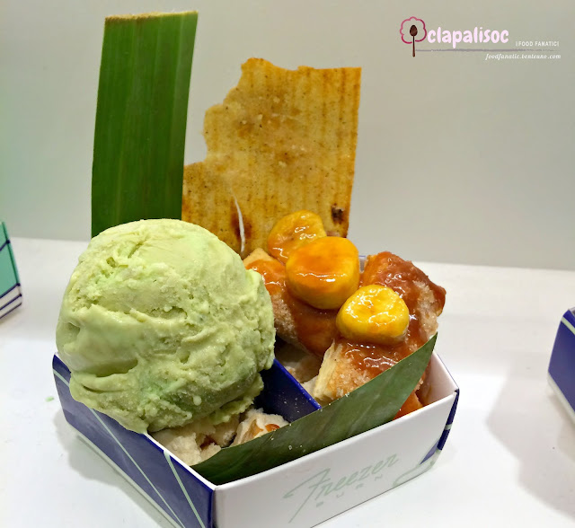 Banana Leaf and Tonka Bean Ice Cream with Banana Tart Turon