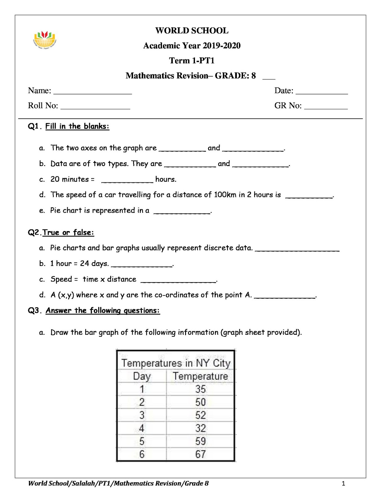 WORLD SCHOOL OMAN: Revision Worksheet for Grade 8 as on 03-10-2019 [ 1600 x 1237 Pixel ]