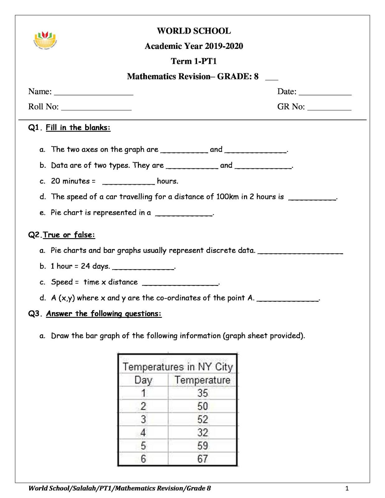 medium resolution of WORLD SCHOOL OMAN: Revision Worksheet for Grade 8 as on 03-10-2019