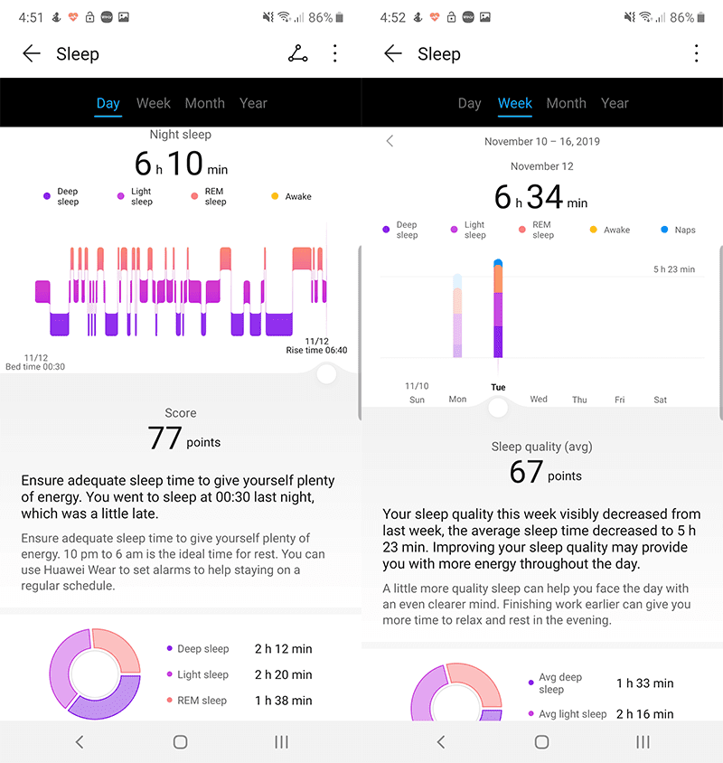 Huawei Band 4 Sleep tracking