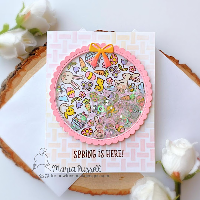 Spring is Here! card by Maria Russell | Spring Roundabout Stamp Set, Circle Frames Die Set and Basketweave Stencil by Newton's Nook Designs #newtonsnook #handmade