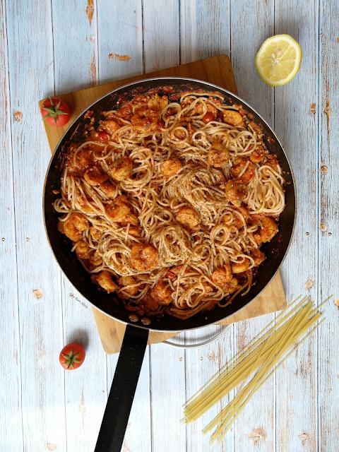 Prawns Pasta, prawns, pasta, Sicilian cuisine, Italian cuisine, pasta recipe, recipe, prawns recipe, prawns pasta recipe, food, food photography, food flatlay, spicy food, spicy fusion kitchen, botswana, food blog, food blogger
