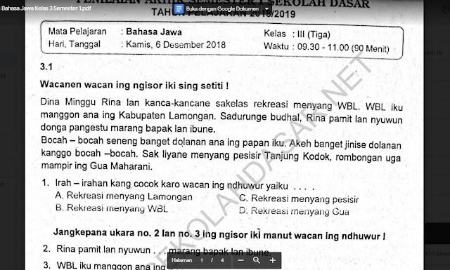 Soal Ulangan K13 Bahasa Jawa Kelas 3 Semester 1