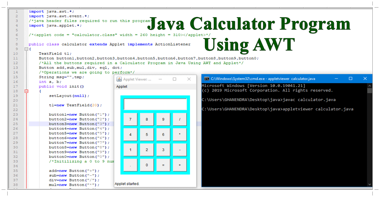 Calculator Program in Java Using AWT and Applet