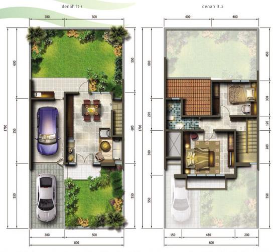 Denah rumah ukuran 8x17 meter 2 kamar tidur 2 lantai