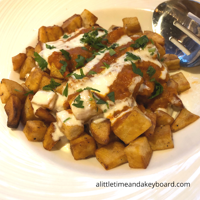 Patatas Bravas piled high!