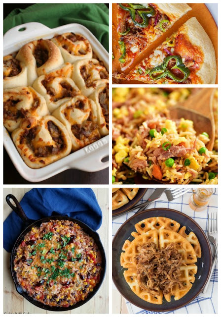 pictures of pulled pork pizza, rolls, fried rice and more using leftover pork