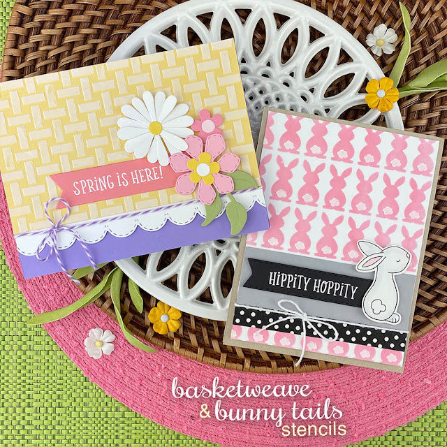 Stenciled Spring Basket and Bunny cards by Jennifer Jackson | Basketweave Stencil, Flower Trio Die Set, Bunny Tails Stencil and Bitty Bunnies Stamp Set by Newton's Nook Designs