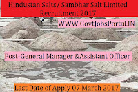 Hindustan Salts / Sambhar Salts Limited Recruitment 2017– General Manager, Assistant Manager