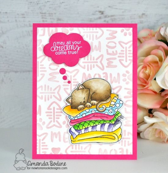 Dreamy Kitty Card by Amanda Bodine | Newotn's Naptime Stamp Set and Meow Stencil by Newton's Nook Designs #newtonsnook #handmade
