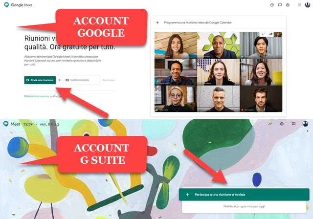interfaccia di google meet per google e g suite