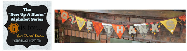 """Give Thanks"" pennant banners in oranges, browns, yellows, with burlap letters and crocheted lace and button details"