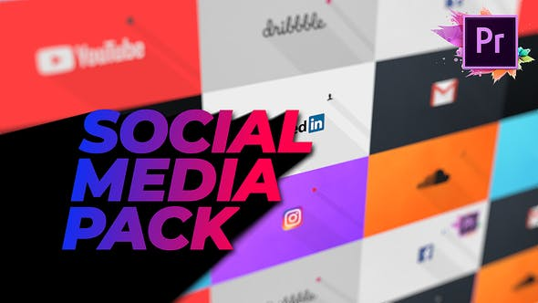 Flat Social Media Pack For Premiere Pro | Mogrt | Videohive 23359764 - Free download