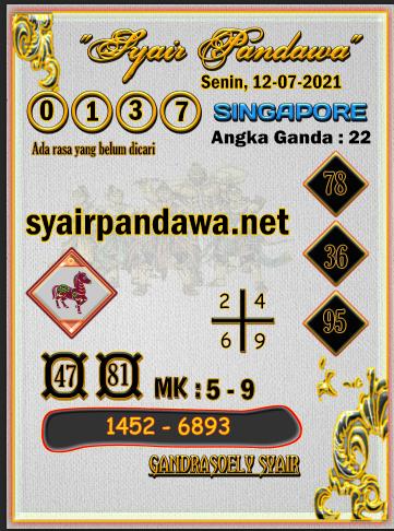 Gambar Syair Pandawa Sgp kamis 15 juli 2021