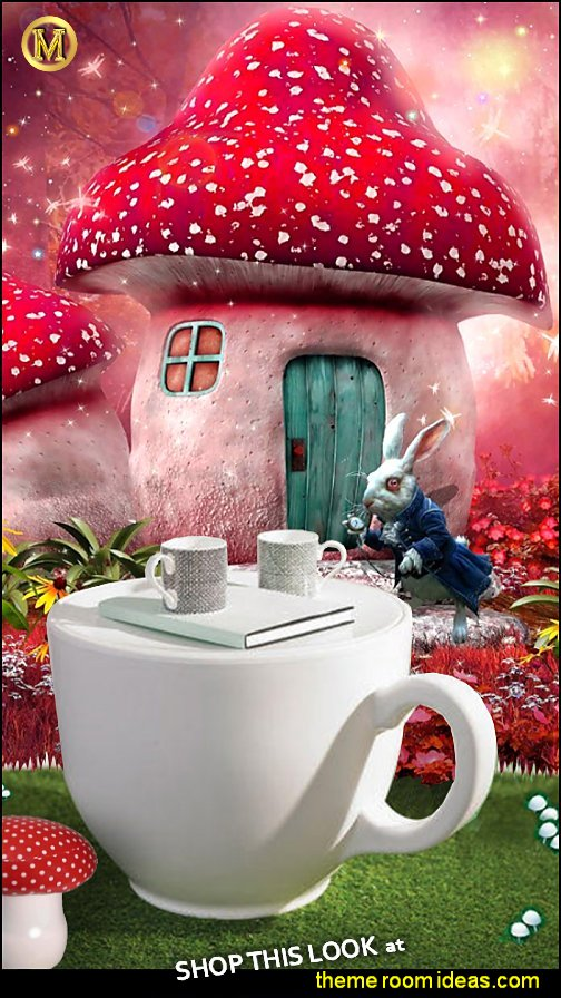 Alice in Wonderland bedroom alice in wonderland tea cup table   alice in wonderland bedroom furniture  white rabbit mural mushroom stool
