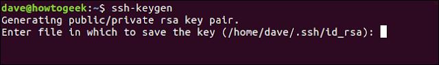 تأكيد موقع تخزين مفتاح ssh في نافذة طرفية