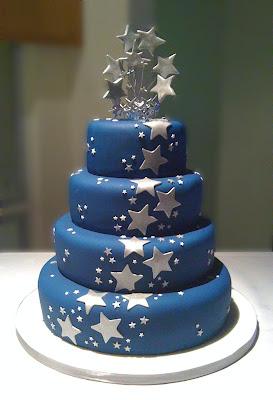blue fondant wedding cake