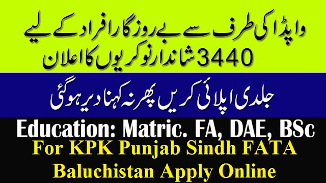 WAPDA New Jobs For KPK Punjab Sindh FATA Baluchistan Apply Online