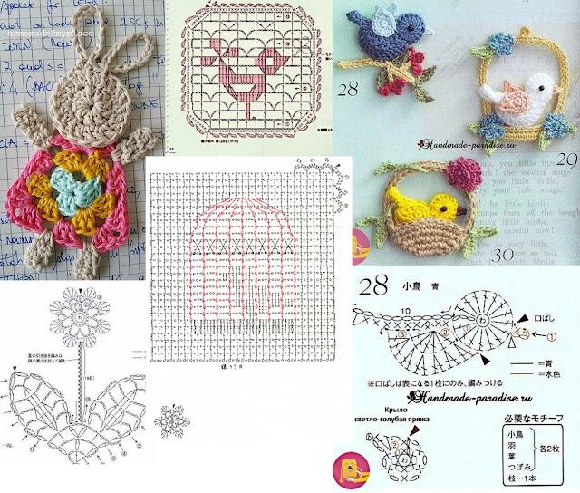 Wiosenne aplikacje na szydełku ptaszki, domki, serca, kwiaty, króliczki na szydełku - ponad 20 SCHMETÓW I WZORÓW
