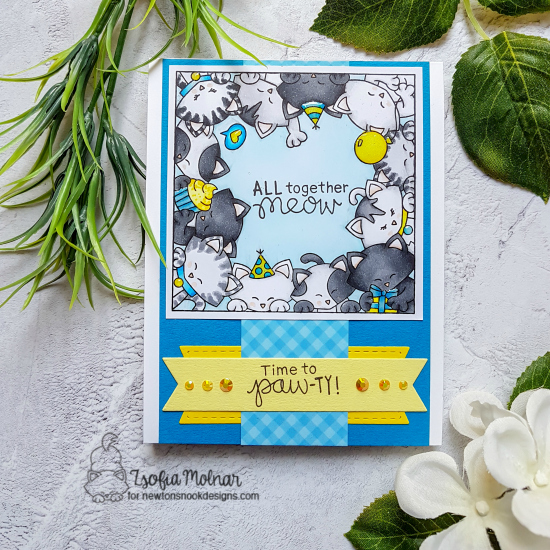 Cat Birthday Card by Zsofia Molnar | Newton's Block Party Stamp Set and Frames & Flags Die Set by Newton's Nook Designs #newtonsnook #handmade