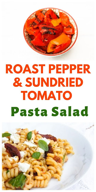Roast Pepper & Sundried Tomato Pasta Salad. An easy copycat M&S recipe where you quickly blend a sauce. A real family favourite & great for lunchboxes. #pastasalad #pastasauce #sundriedtomatoes #M&Srecipe #copycatpasta #pasta #roastpeppers