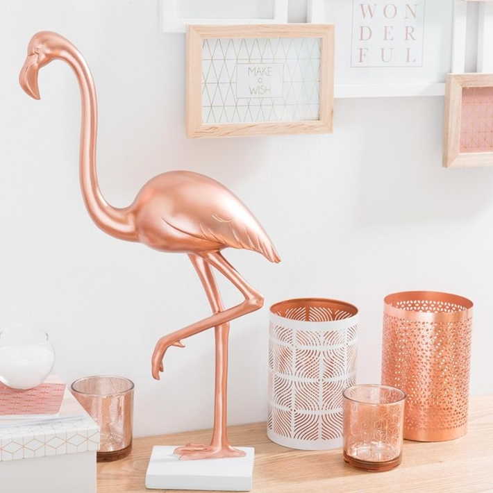 Decoração rosa golde com flamingos