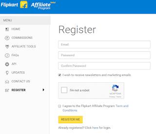 Flipkart Affiliate Program register