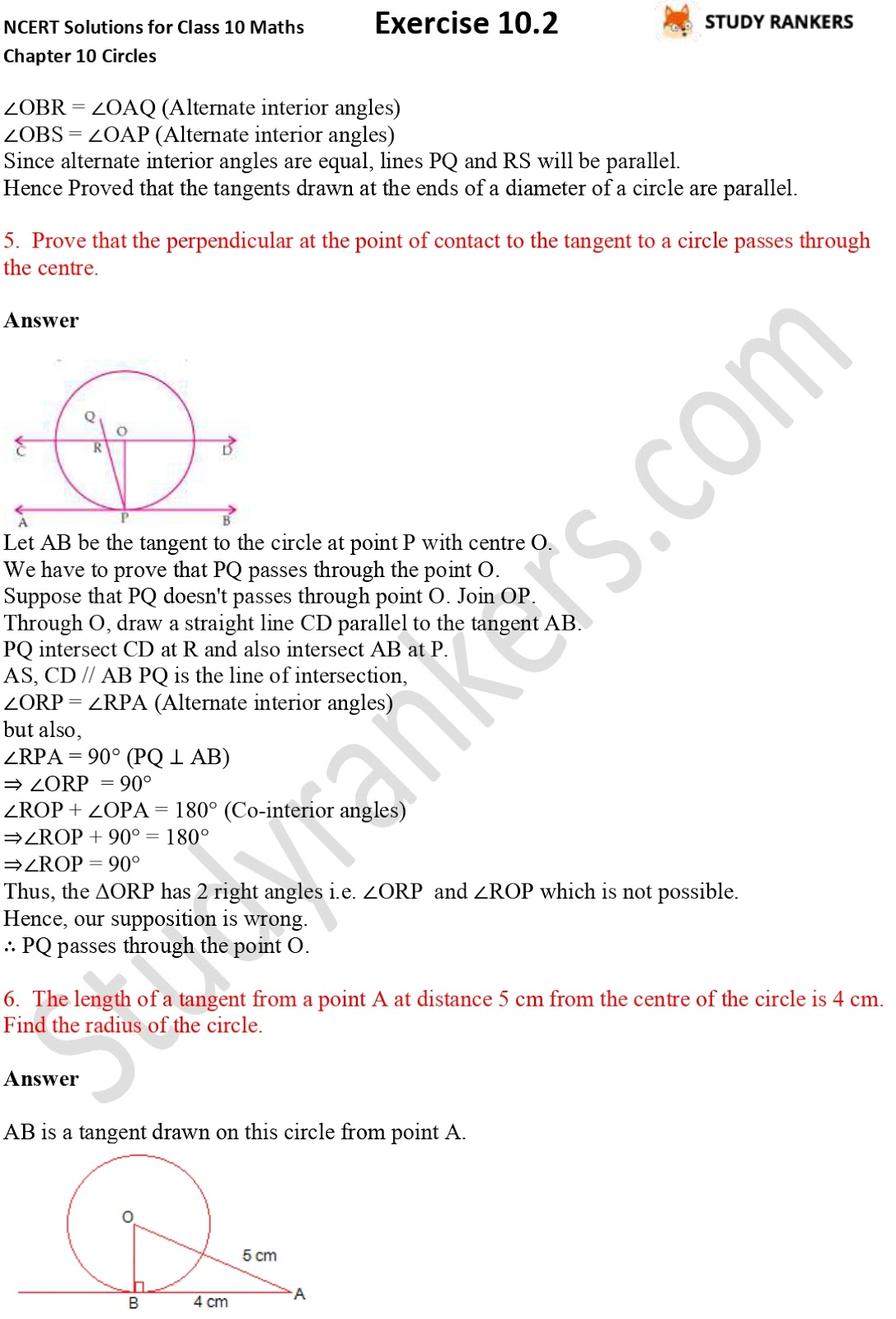 NCERT Solutions for Class 10 Maths Chapter 10 Circles Exercise 10.2 Part 4