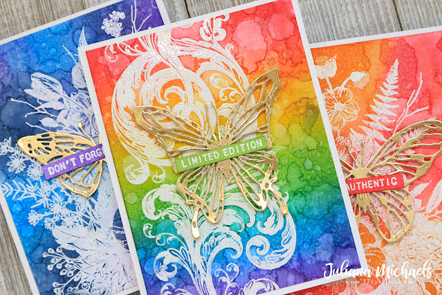 Distress Ink Analogous Rainbow Background Cards by Juliana Michaels