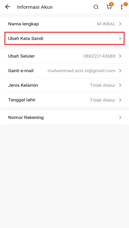 Layanan Ubah Kata Sandi Akun di Aplikasi Marketplace Lazada.