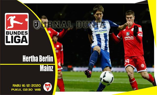 Prediksi Hertha Berlin vs Mainz , Rabu 16 Desember 2020 Pukul 02.30 WIB