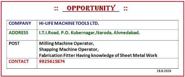ITI Jobs Vacancy In Hi-life Machine Tools Ltd. Ahmedabad