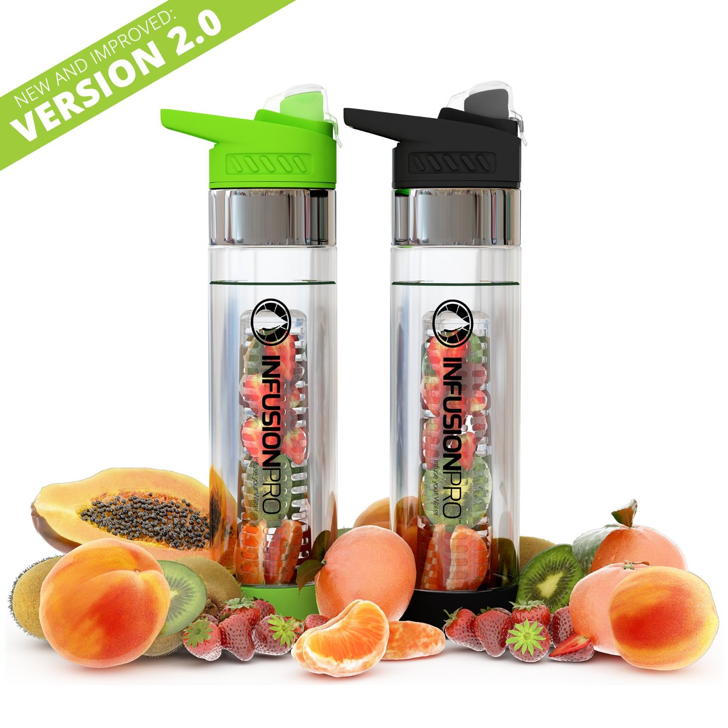 Darilyn Sues Product Reviews Infusion Pro V20 Premium 2 Pack New Tritan Infusd Water Bottle Fruit Infused Bottom Infuser With Flip Top Lid Large 24 Oz Bpa Free Plastic Green Black