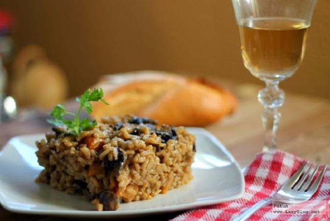 Receta de risotto con calabaza y setas Portobello