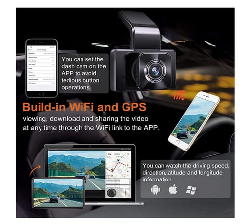 AUTOWOEL D330 FHD Dash Cam Built in WiFi GPS