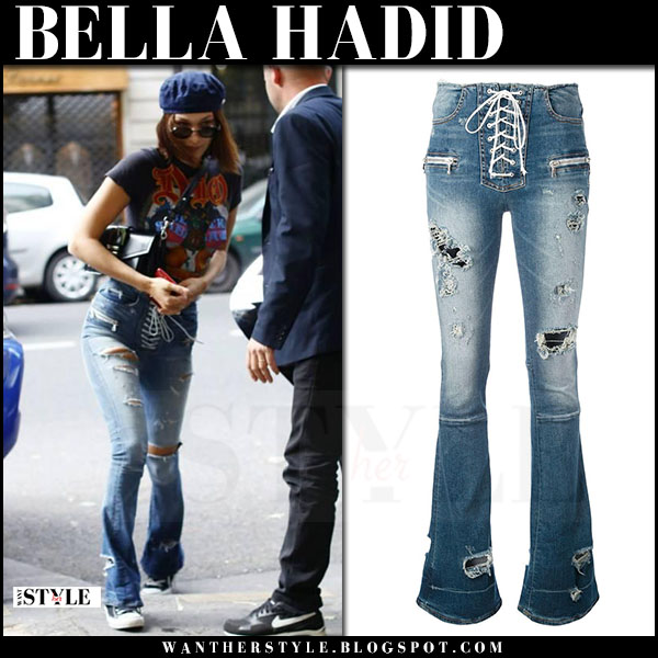 Bella Hadid in ripped lace up flare jeans unravel what she wore june 23 2017