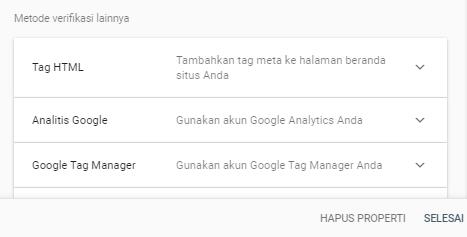 Verifikasi kepemilikan properti Google search console