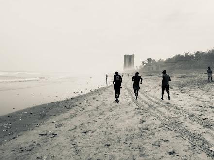 Runners at Labadi Beach, Accra