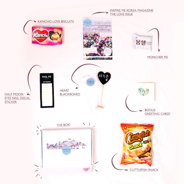All 7 items that come inside the Inspire me Korea subscription box