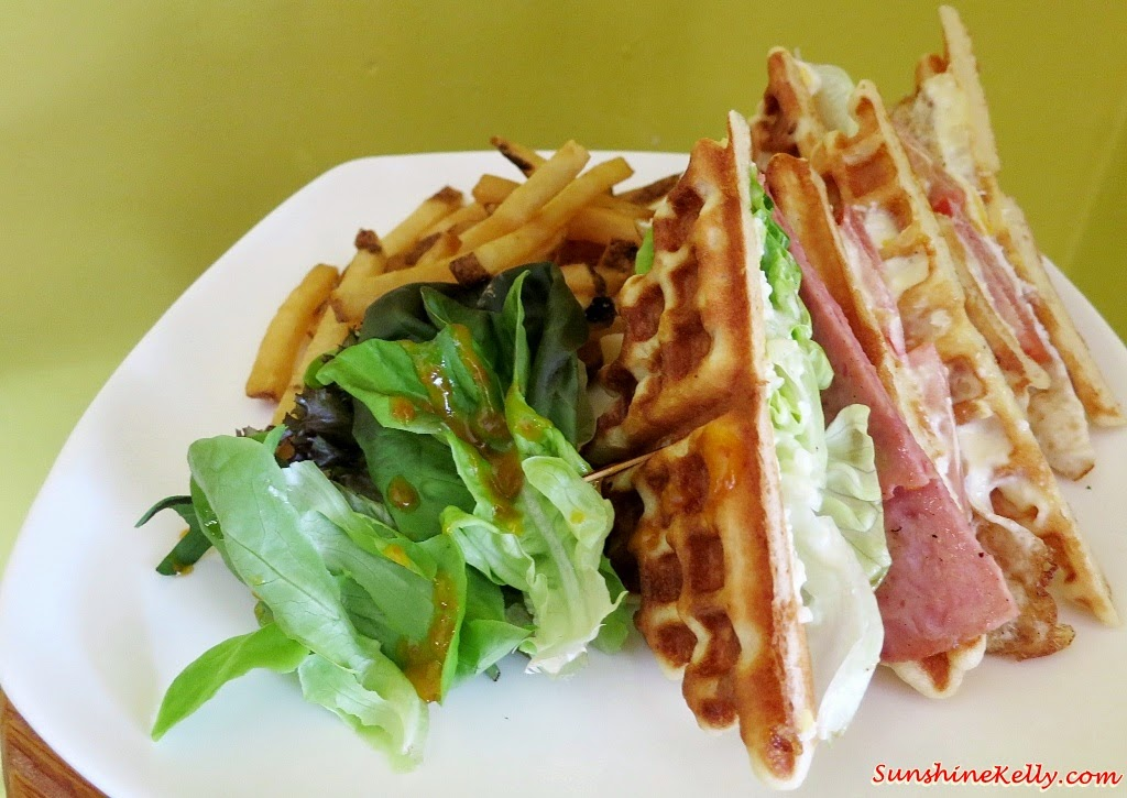 Club Sandwich Waffle, Bites Cafe Lake Fields, Bites Cafe, Sungai Besi, coffee place, malaysia cafe, Coffee, Waffle, Breakfast Pizza, Frittata, Affogato, The last polka, ice cream with coffee, chilled out place, chilled out cafe, egg dish
