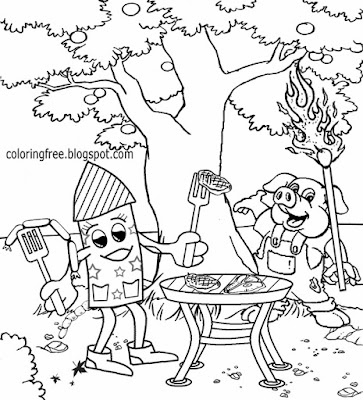 Sky rocket and pig BBQ grill free funny cartoon firework printable coloring pages for teenage kids