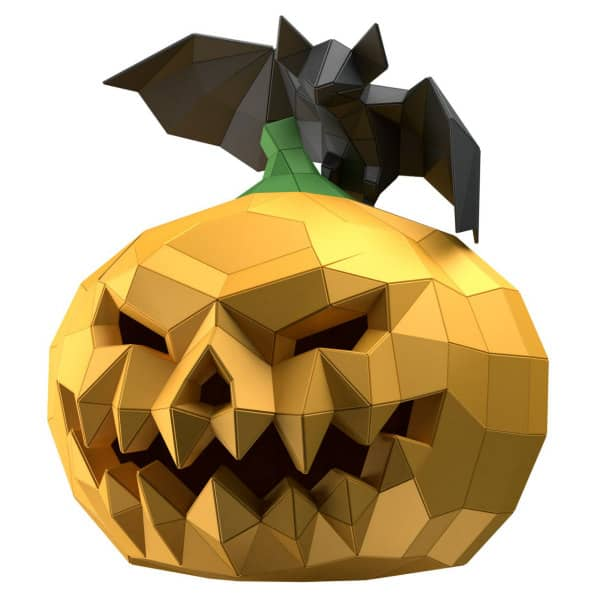 low poly pumpkin head mask and bat
